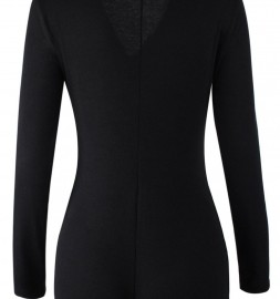 Black-V-neck-Long-Sleeves-Button-Bodysuit-LC3291-2-32550