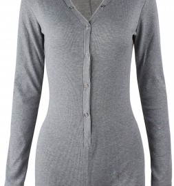 Grey-V-neck-Long-Sleeves-Button-Bodysuit-LC3291-1-32555