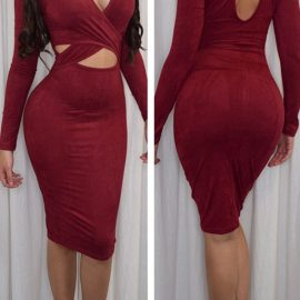 Red-Cut-out-Long-Sleeve-Dress-Faux-Suede-Midi-Dress-LC60783-1-1